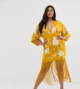 Read more about Asos design curve kimono sleeve midi dress with embroidery and fringe