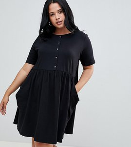 Read more about Asos design curve mini smock dress with pockets and button front - black