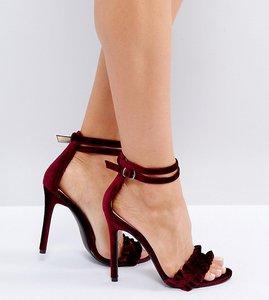 Read more about Public desire pheonix burgundy velvet ruffle heeled sandals - dark burg velvet