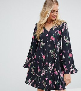 Read more about Asos tall button through swing dress with trumpet sleeve in floral print - multi