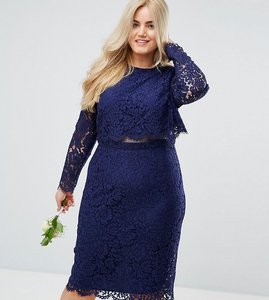 Read more about Asos curve wedding lace long sleeve midi pencil dress - navy