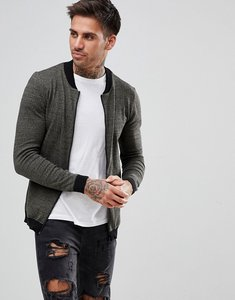 Read more about Asos knitted muscle fit bomber jacket in khaki twist - khaki