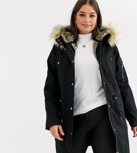 Read more about Asos design curve parka with detachable faux fur liner - black