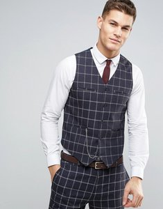 Read more about Asos wedding skinny suit waistcoat in navy and white windowpane check in 100 wool - navy