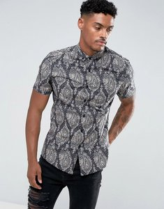 Read more about Asos slim stretch shirt with paisley print - faded black