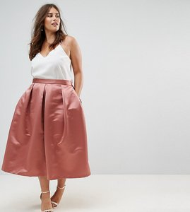 Read more about Closet london plus full prom sateen midi skirt - rust