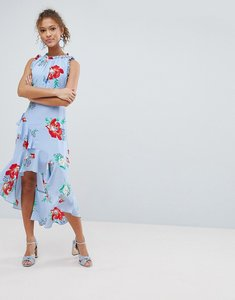 Read more about Miss selfridge floral print ruffle shoulder midi dress - blue