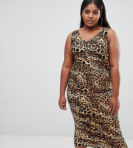 Read more about Asos design curve slinky animal print midaxi dress - multi