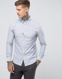 Read more about Farah brewer slim fit oxford shirt in light grey - anthracite 085