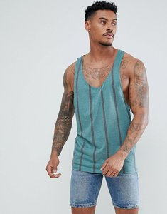 Read more about Asos design striped extreme racer back vest in textured fabric - green