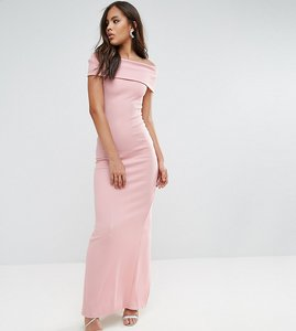 Read more about City goddess tall bardot maxi dress - pale pink