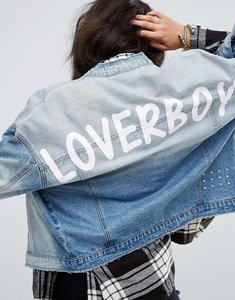 Read more about Noisy may loverboy print denim jacket - medium blue denim