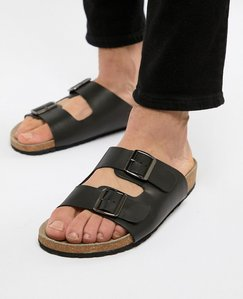 Read more about Asos design sandals in black leather with buckle - black