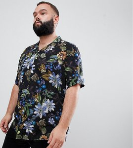 Read more about Asos design plus regular fit floral shirt with revere collar in black - black