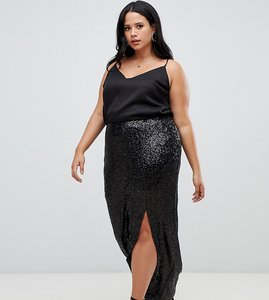 Read more about Outrageous fortune plus sequin maxi wrap skirt with front split in black