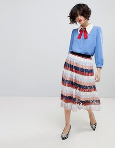 Read more about Essentiel antwerp palms midi pleated skirt - combo salmon pink