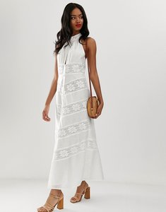 Read more about Asos design halterneck maxi dress with lace inserts