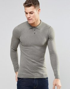Read more about Asos knitted muscle fit polo shirt in light khaki - slate moss h