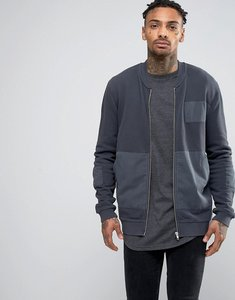 Read more about Asos jersey bomber jacket with woven patches - grey