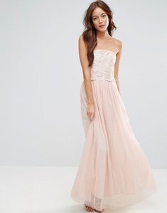 Read more about Little mistress tulle maxi dress with floral applique bodice - cream light pink