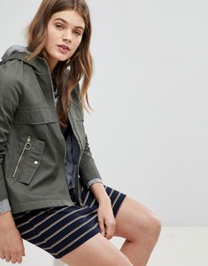 Read more about Esprit canvas zip jacket with hood - khaki green