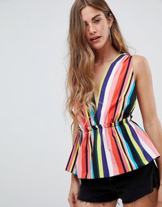 Read more about Asos design plunge sun top in multi stripe - multi