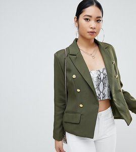 Read more about Missguided petite gold button blazer in khaki