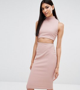 Read more about Missguided exclusive cut out high neck bodycon midi dress - rose pink