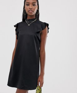 Read more about Missguided tall satin frill dress in black