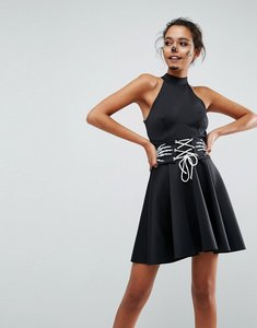 Read more about Asos halloween skeleton hands corset waist scuba mini dress - black