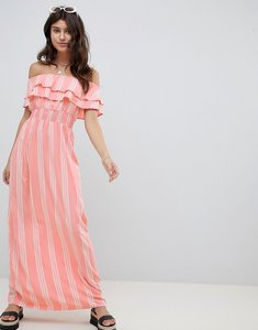 Read more about Prettylittlething striped bardot maxi dress - pink
