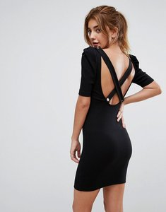 Read more about Asos mini bodycon dress in premium rib with shoulder detail - black