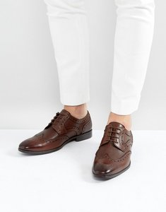 Read more about Asos derby brogue shoes in brown leather with embossed panels - brown