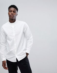 Read more about Weekday haring grandad collar twill shirt - white