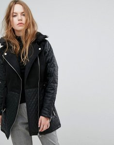 Read more about New look quilted longline biker jacket - black