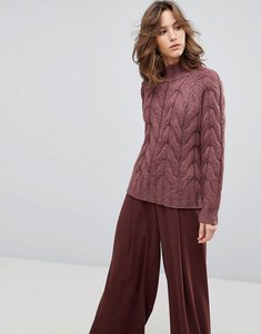Read more about Selected femme chunky cable knit jumper - purple