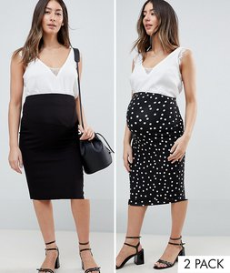 Read more about Asos design maternity over the bump longer line midi skirt 2 pack print and plain - black mono