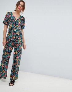 Read more about Mango deep v floral printed jumpsuit in multi - multi