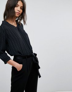 Read more about B young printed v neck blouse - teal black combi 1