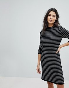 Read more about Esprit stripe knitted dress - black