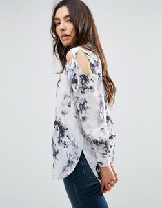 Read more about Asos tie shoulder blouse in marble print - multi