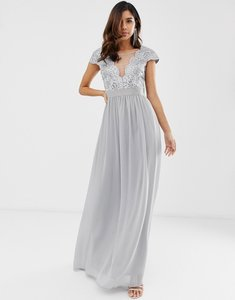 Read more about City goddess pleated maxi dress with lace and mesh detail