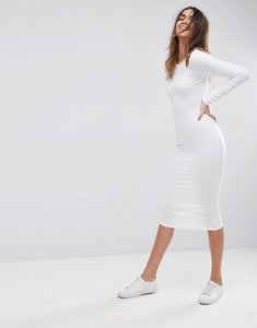 Read more about Asos midi cut out shoulder bodycon dress - white