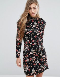 Read more about Miss selfridge high neck ruffle detail mini dress - floral