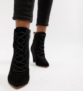 Read more about Kurt geiger vivian black suede lace up heeled ankle boots - black
