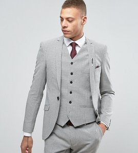 Read more about Heart dagger super skinny suit jacket in summer dogstooth - pale grey