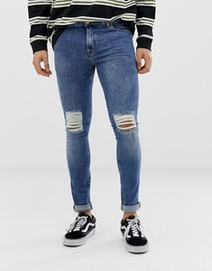 Read more about Asos design super skinny jeans in 12 5oz mid wash blue with knee rips - mid wash blue