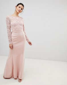 Read more about City goddess open back lace maxi dress with bow detail - pale pink