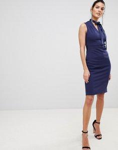 Read more about City goddess tie collar v neck midi dress - cobalt