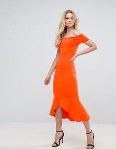 Read more about Club l bardot drop peplum dress - red orange